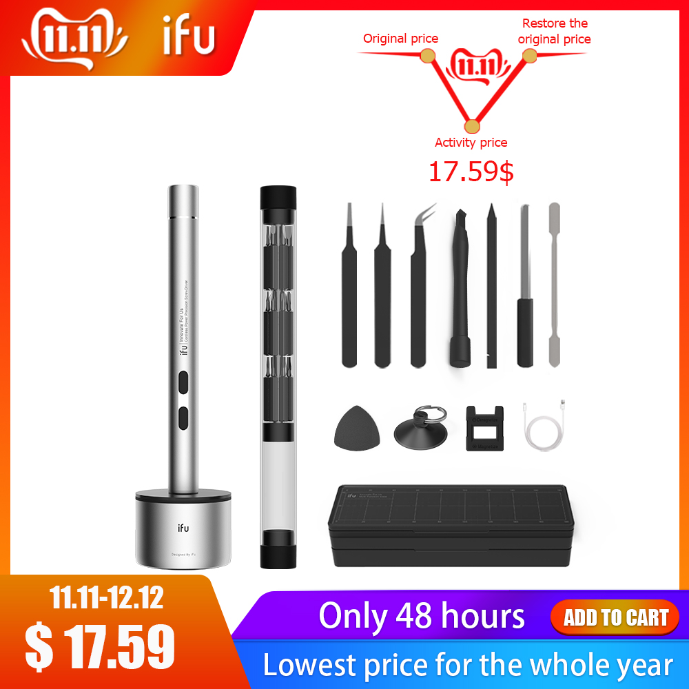 IFu Mini Electric Cordless Magnetic Screw Driver Tool Torx Hex Phillips Kit Li-ion Battery Precision Hand Screwdriver Bit Set