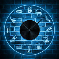 Dentist Tools Tooth Care LED Hanging Wall Clock Dental Practitioner Clinic Stomatological Orthodontics Wall Art Decor Wall Light
