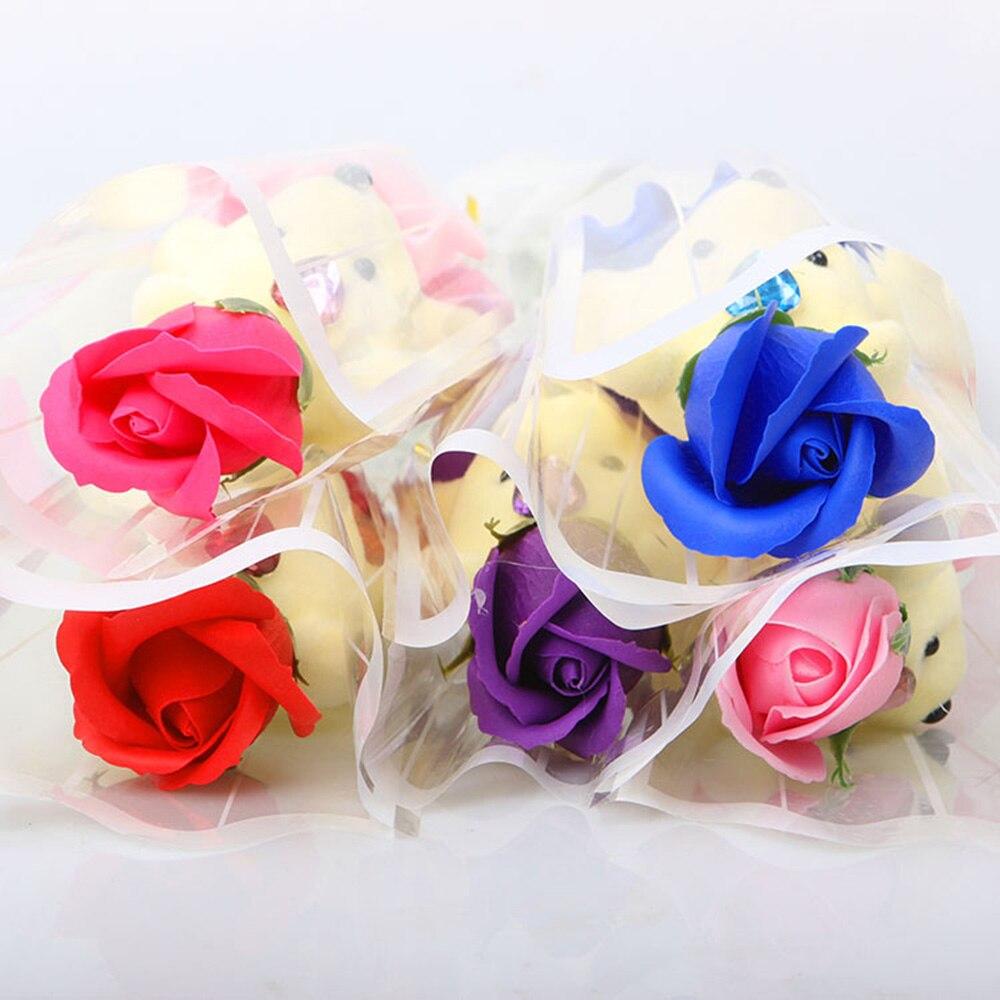 2020 Soap Foam Bear of Roses Teddy Bear Rose Flower DIY Valentines Day Gift fake flowers
