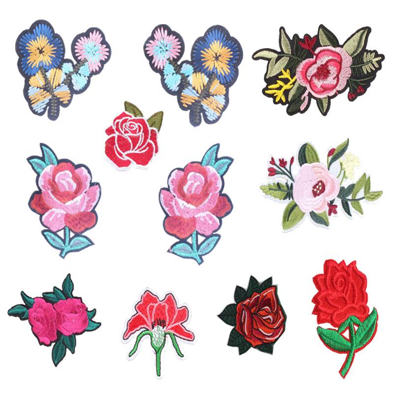 Patch für Verschiedene Blume Kleidung Eisen auf Sticken Nähen Applique Rose Nähen Stoff DIY Bekleidung Patches Zubehör Dekoration
