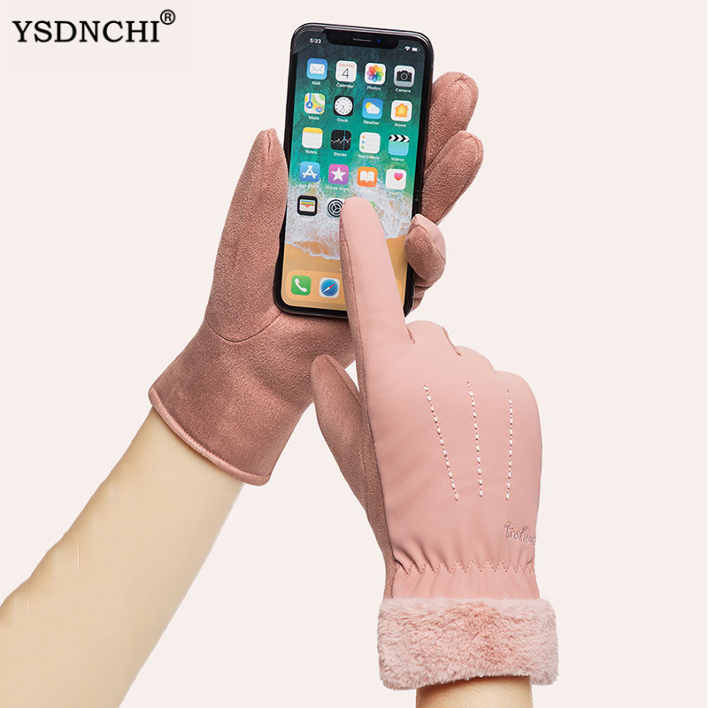 YSDNCHI New Female Winter Outdoor Sports Warm Windproof Touched Screen Gloves Fashion Women Fur Plush Ski Glove Cashmere Mittens