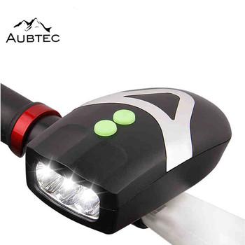 Aubtec światła rowerowe wodoodporne 2 w 1 światła rowerowe reflektor z dzwonek z klaksonem Lanterna Bike Luces Bicicleta akcesoria rowerowe tanie i dobre opinie QP45457 Kierownica Baterii black orange 3 * AAA battery fietsverlichting 11 x7x 4cm