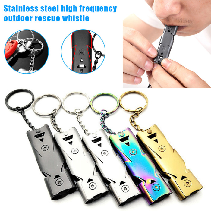 150 Decibels With Less Effort Stainless Steel Lifesaving Whistle Outdoor Emergency Survival Whistle Double Tube Survival Whistle 2 pack
