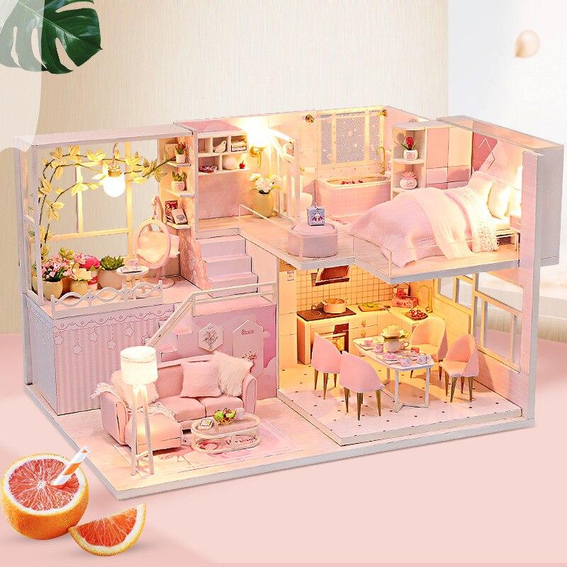Peaceful Pink Loft DIY Wooden 3D Miniature House