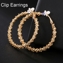 2021 Trendy Vintage Big Round Hoop Clip on Earrings for Women Fashion Statement Punk Charm Non Pierced Earrings Party Jewelry