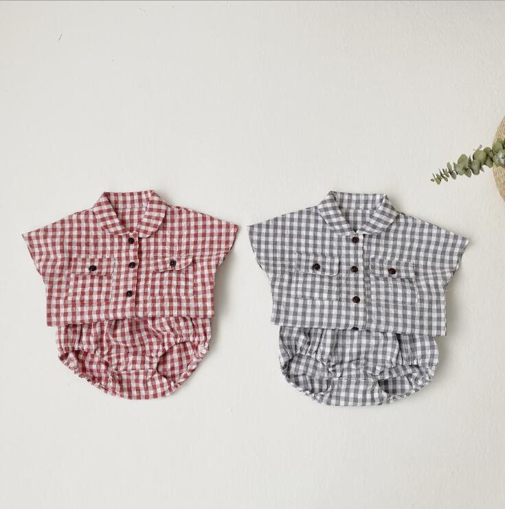 2020-new-baby-girls-2-pcs-plaid-set-shirt-shorts-fashion-summerbabys-cotton-girls-suit-6 (2)