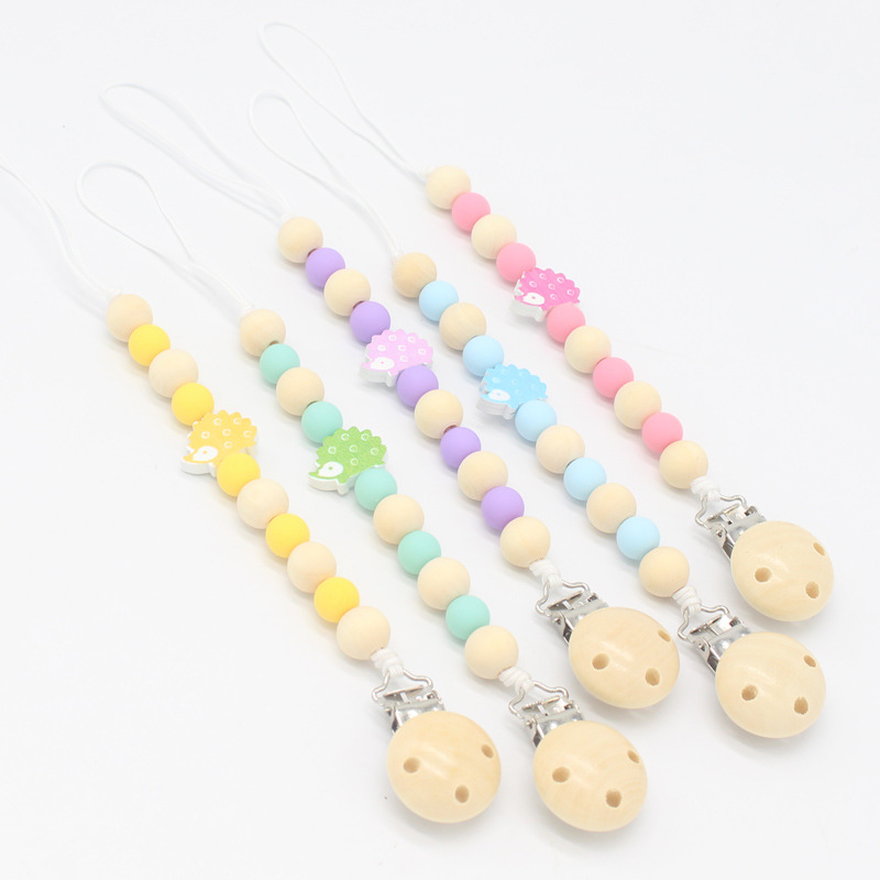 Personalized Dummy Clip Silicon Bead Pacifier Holder Baby Boys Girl ~ Hedgehog