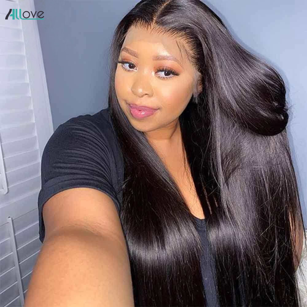Allove 250 densidad peluca con encaje hueso recto frente de encaje pelucas de cabello humano 4X4 cierre peluca brasileña 13X4 recto peluca Frontal de encaje