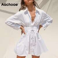 Aachoae-minivestidos blancos elegantes con cordón para mujer, Vestido camisero elegante con cuello vuelto, vestido informal de manga larga para vacaciones de verano