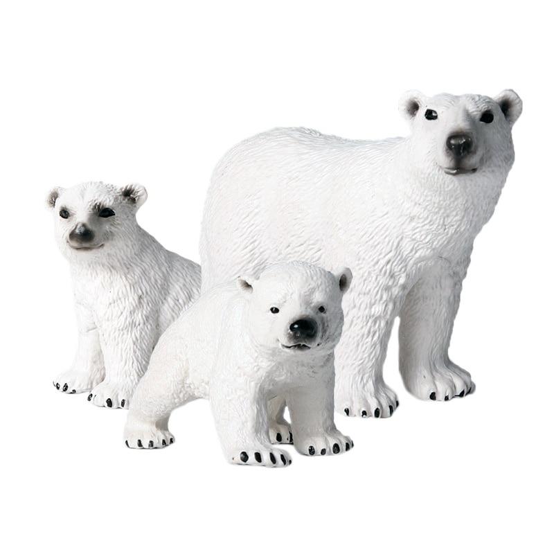 Children'S Simulation Wild Marine Animal Model Solid Environmental Protection Ornaments Polar Bear Toy Set Polar Bear Figurine