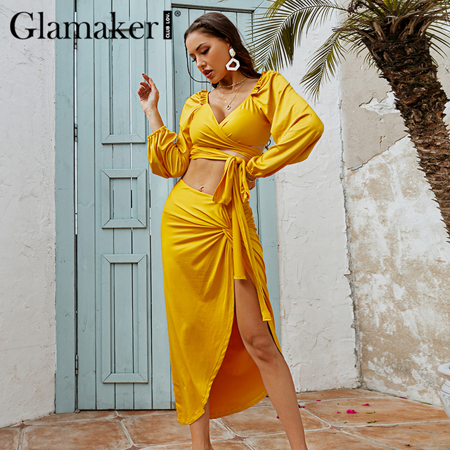 Glamaker Two piece suits Ruffles bandge top and high split sexy skirts Women spring summer yellow sets dress fashion 2021 new 1