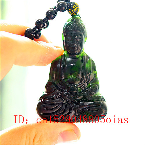 Natural Black Green Chinese Jade Buddha Pendant Beads Necklace Charm Jewelry Fashion Accessories Carved Amulet Gifts For Men Her