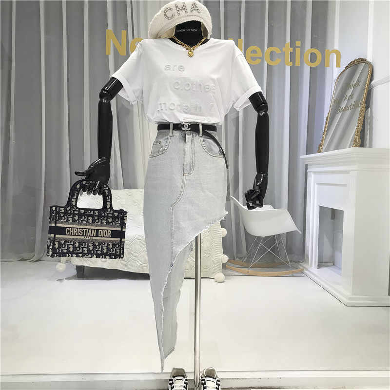 2020 الصيف غير متناظرة تنورة الدنيم الموضة تنورة عالية الخصر الكورية ملابس عصرية ليلة خارج التنانير للنساء مثير