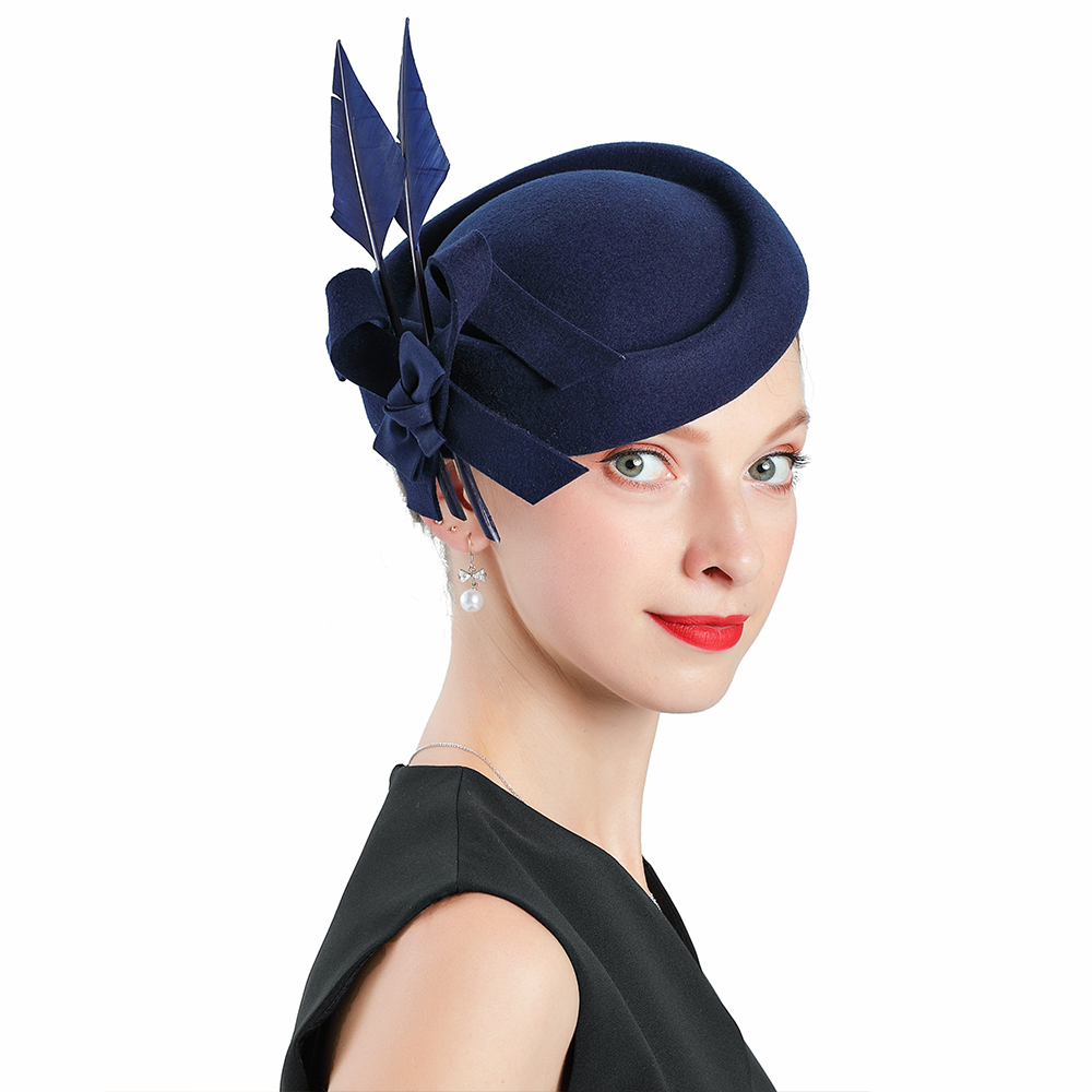 Hot Sale Fedoras Wool Blue Fascinator Hats For Women <font><b>Church</b></font> Wedding Hat Feather Pillbox Caps Womens Bonnet Hats Elegant Fedoras image