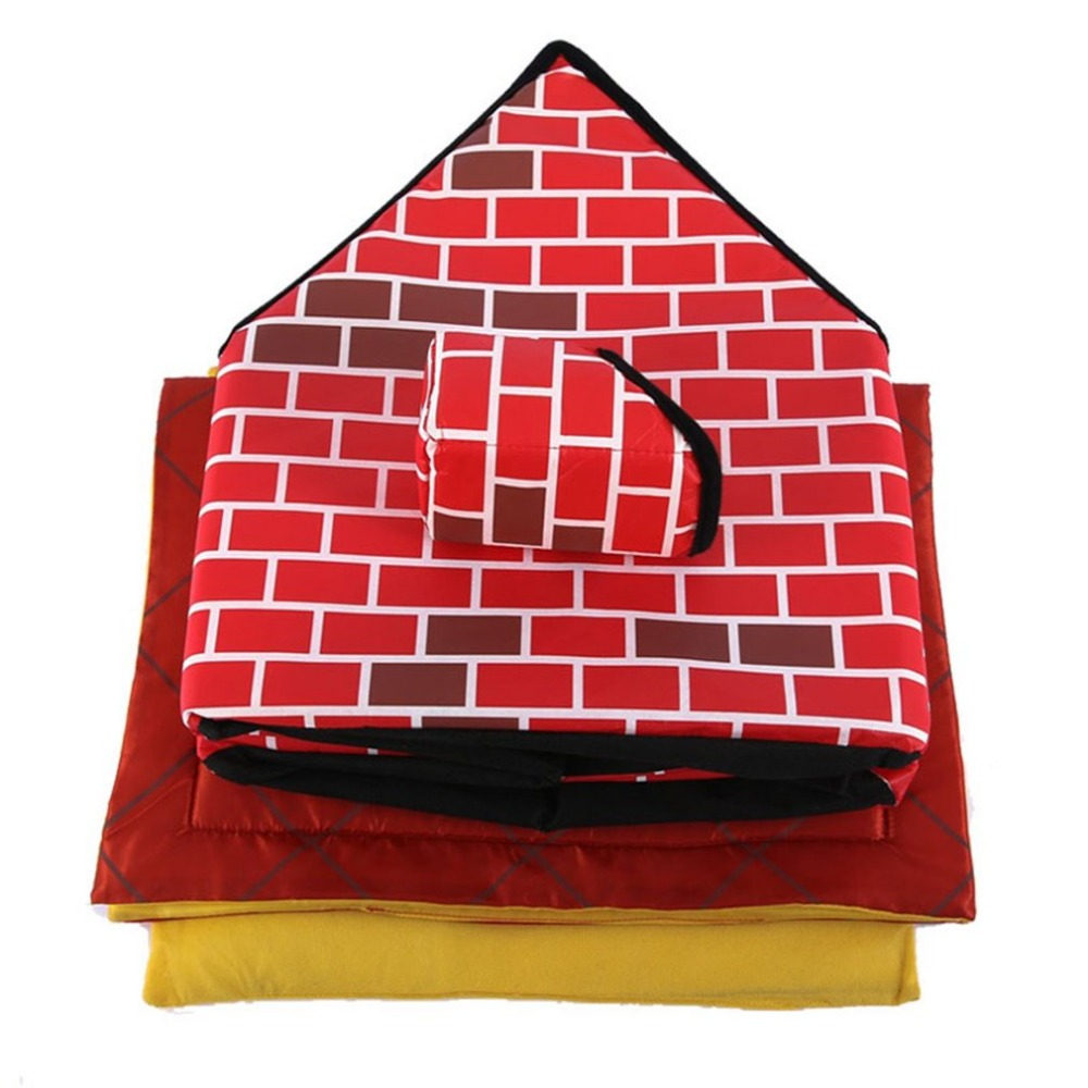 Portable Brick Pet House With Chimney Warm And Cozy Dog Cat Bed Detachable Washable Pet Tent Suitable For All Seasons Cushion 5