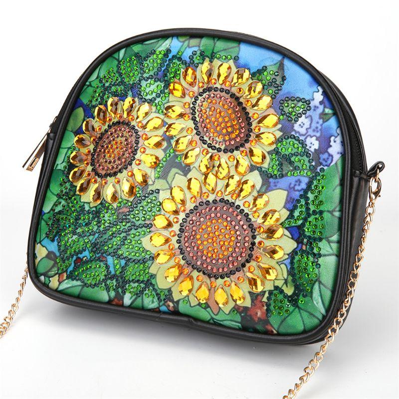 Купить с кэшбэком DIY Special Shaped Diamond Painting Wallet Diamond Painting Three Sunflowers