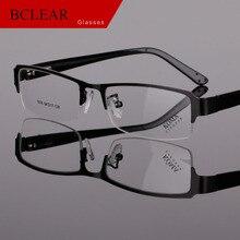 BCLEAR Clássico Meia Rim Frame Da Liga De Óculos Dobradiça de Mola Óculos de Marca Homens de Negócios Designer de Armação de óculos Em Acetato de Pernas