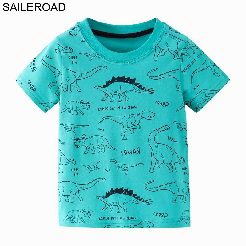 SAILEROAD Dinosaur Print Children Tops T Shirt for Kids Clothes Summer 2021 Boys T-Shirts Cotton 7Years Baby Girls Clothing 1