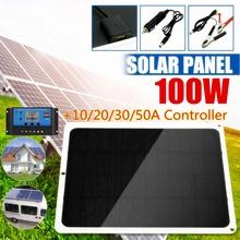 100w Panel słoneczny podwójny 12v 5v USB z kontrolerem 30A wodoodporne ogniwa słoneczne Poly ogniwa słoneczne do ładowarki samochodowej jacht RV tanie tanio NONE CN (pochodzenie) Solar Panel