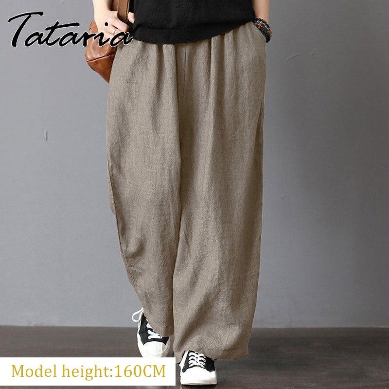 Женские хлопковые серые брюки с эластичной талией размера плюс, повседневные свободные брюки до щиколотки цвета хаки, женская элегантная у...