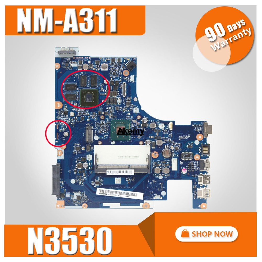 G50-30 Motherboard FRU:5B20G91616 For Lenovo G50-30 Laptop Motherboard ACLU9/ACLU0 NM-A311 SR1YW N3530 DDR3 820M 1GB