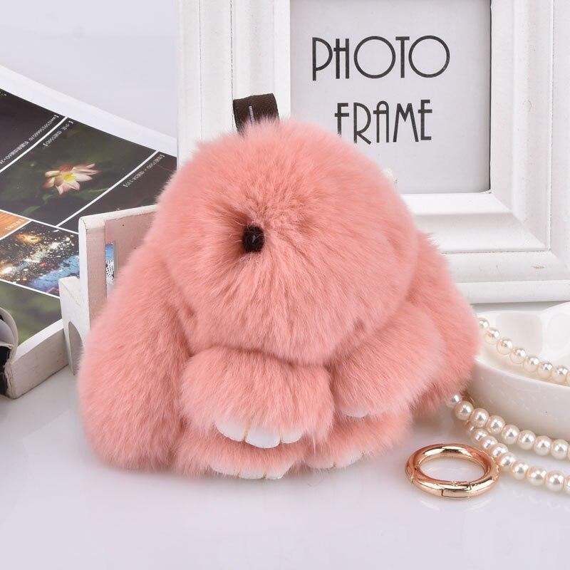 Cute Plush Bunny Keychain Women Fur Angel Rabbit Key Ring Girls Bag Key Pendant