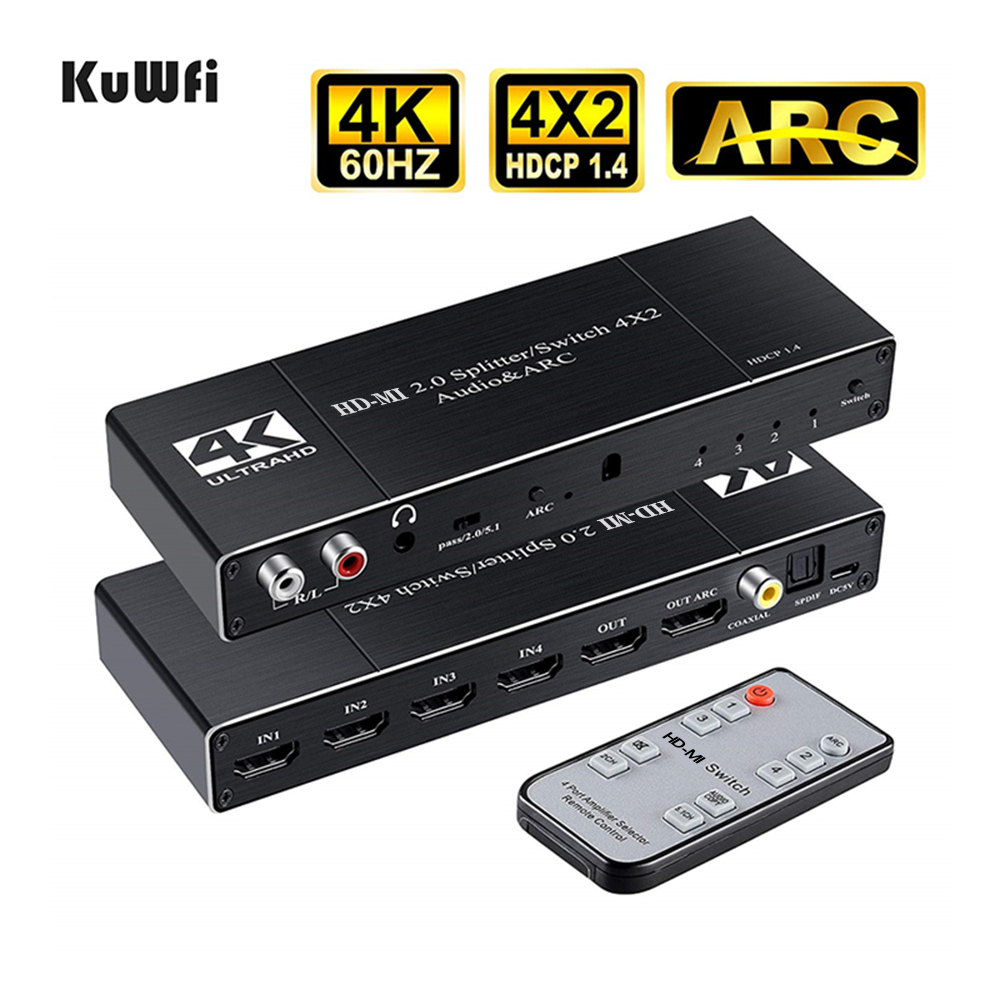 HDMI Switcher 4K 60Hz Switch 4 in 2 out HD-MI Splitter/Switcher Audio Extractor with ARC IR Remote Control for TV Xbox HDTV PS4