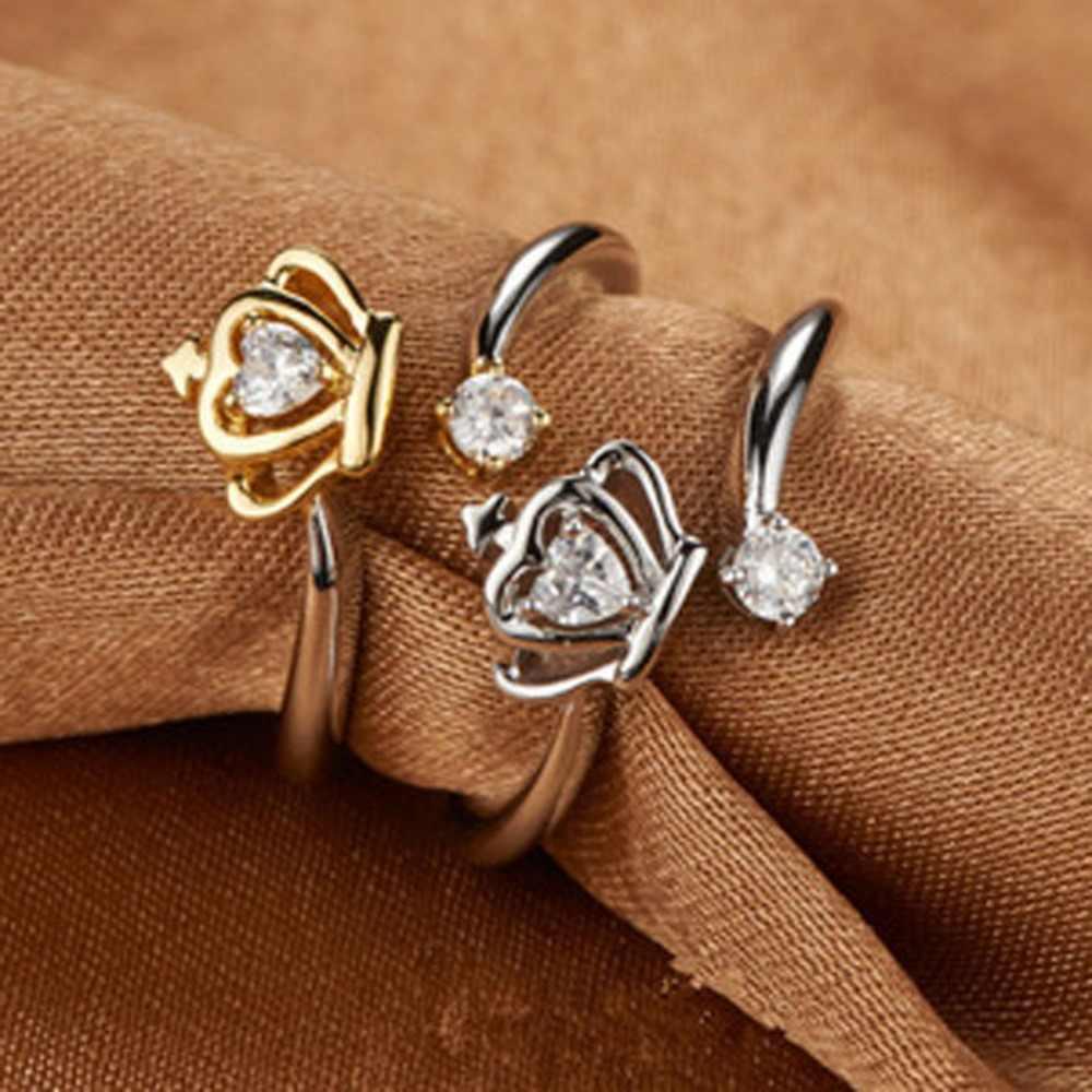 2019 Baru Fashion Berlapis Perak Mahkota Ratu Adjustable Cincin Pernikahan Cincin untuk Wanita Fashion Natal Hadiah RG0045