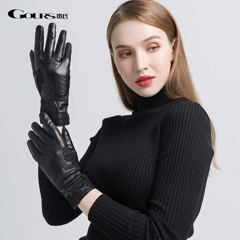 Gours Genuine Leather Gloves For Women Fashion Black Goatskin Gloves Wool Lining Warm In Winter Embroidery New Arrival GSL055
