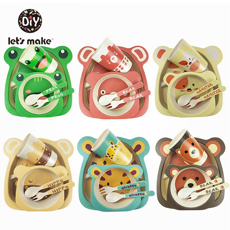Let's Make Children's Dishes Baby Bamboo Tableware Set Plate Bowl Spoon Fork Bottle Cup Cartoon Animal Baby Feeding Dinnerware
