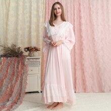 Nightgown Woman Lace lace Cotton Sleepwear Long Gown Long sleeve  Nightdress Loose Nightgown lace panel lantern sleeve nightdress