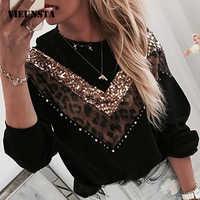 Femmes paillettes lèvres imprimer sweat à la mode automne léopard à manches longues perles à capuche dame col rond Kawaii blouson à capuche