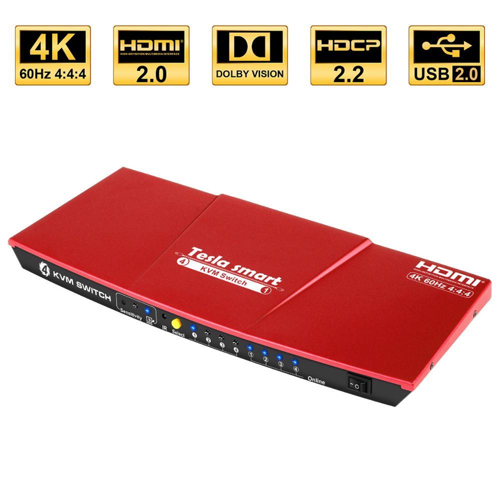 Commutateur KVM commutateur KVM HDMI USB2.0 4 ports commutateur kvm commutateur hdmi jusqu'à 4K @ 60Hz contrôle 4 PC prise en charge Unix/Windows/Debian supplémentaire USB2.0