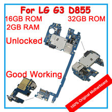 For LG G3 D855 32GB 16GB ROM Unlocked Motherboard Logic Board With Chips Android System For Replacement Original Mainboard 4G(China)
