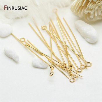 head pins for jewelry making high quality copper metal 14K real gold plated needle eye pin wholesale connector pins material pure copper gold plated db 25 general head mother head avoid welding head plug 25 needle transfer line terminal connector