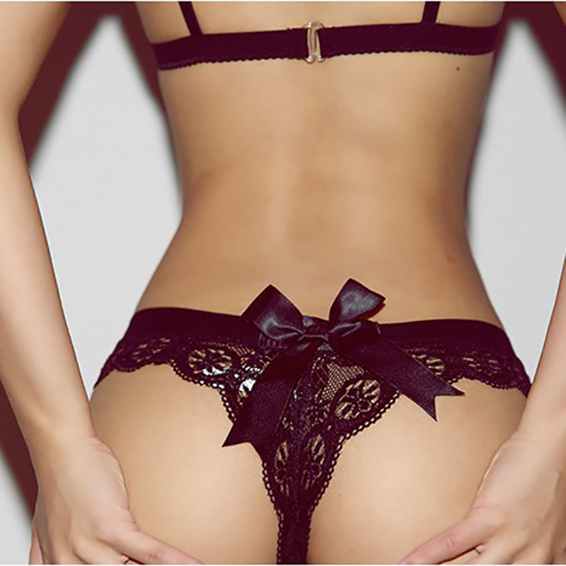 Black/White Sexy String Lace Underwear Women Back Bow Panties Women G String T-back Thong Transparent Lingerie Cute Panties New