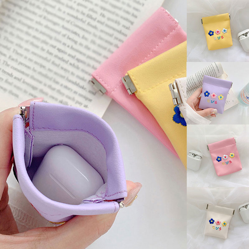 Women Coin Purse Storage Headphone Bag Girls Student Earphone Pocket Embroidery Flower Card Holder Case Soft Pu For Kids