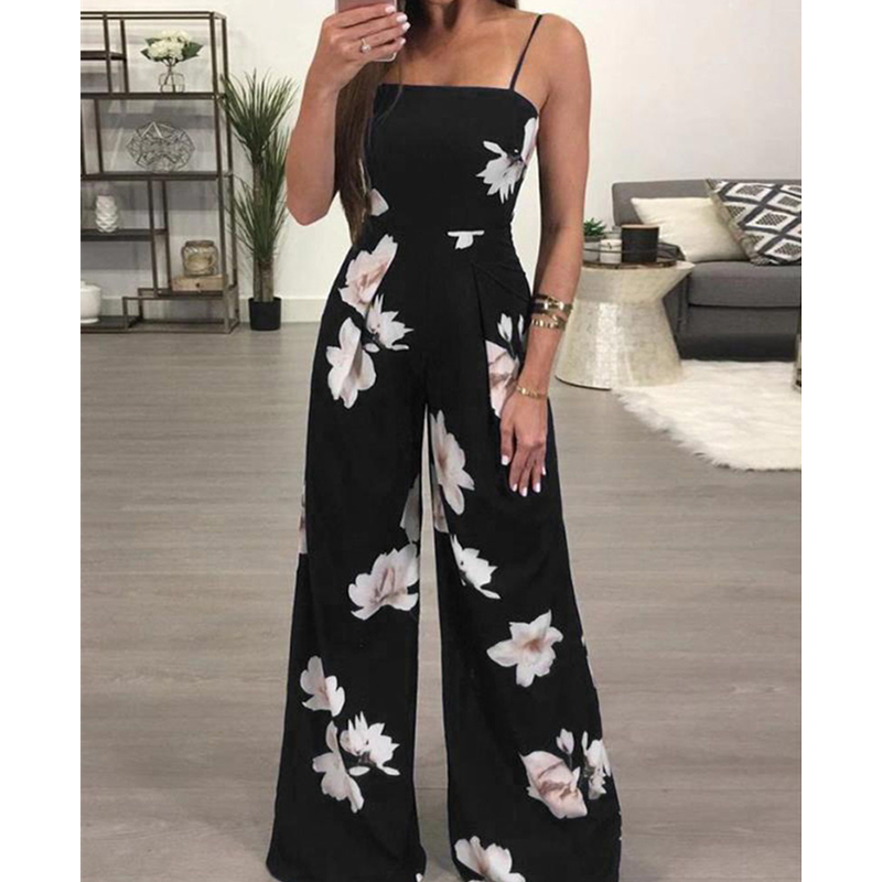 Jumpsuit Large Size Fashion Women's Loose Floral Printed Jumpsuit Office Lady Wide Leg Pants Plus Size Playsuit Womens Rompers