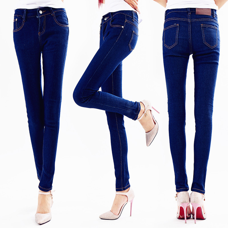 WOMEN'S Jeans Trousers Spring And Autumn Skinny Pants Women's Medium Waist Solid Color Jeans Elasticity Slim Fit Blue Jeans