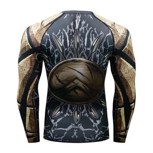 Image 5 - Muay hızlı kuru döküntü bekçi t gömlek erkekler uzun kollu Rashguard boks sıkıştırma forması kickboks sıkı t shirt MMA Fightwear
