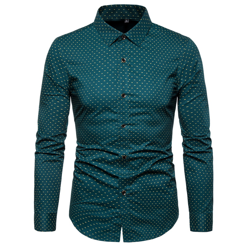 Long Sleeve Shirt Autumn New Mens Cotton Print Fashion Polka Dot Casual slim