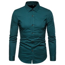 Long Sleeve Shirt Autumn New Men's Cotton Print Long Sleeve Shirt Men's Fashion Polka Dot Print Long Sleeve Casual slim Shirt цены