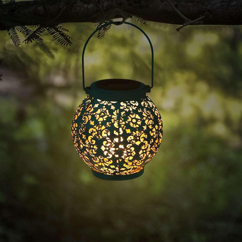 Solar Lamp Outdoor Waterproof Garden LED Solar Light Decorative Metal Hanging Lantern For Garden Patio Yard And Table