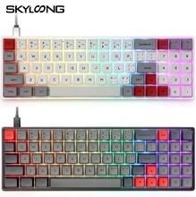 SK71 71 klucz Bluetooth bezprzewodowy/USB przewodowa mechaniczna klawiatura gamingowa Notebook pulpit klawiatura tabletu RGB podświetlany Hot swap