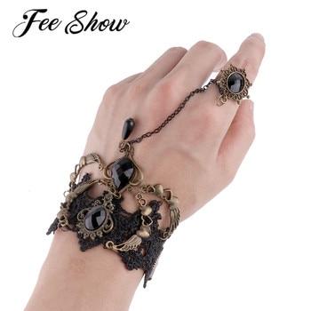 Punk-Women-Gothic-Vintage-Flower-Lace-Rhinestone-Bracelet-Steampunk-Bracelet-Halloween-Party-Costumes-Handwear-Accessories