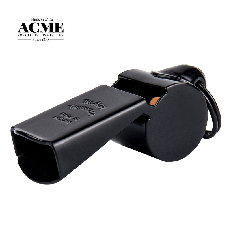 ACME63 Carbon Black Metal Referee Large Volume Whistle Basketball Coach Training Wood Core Whistle + Brown Braided Rope