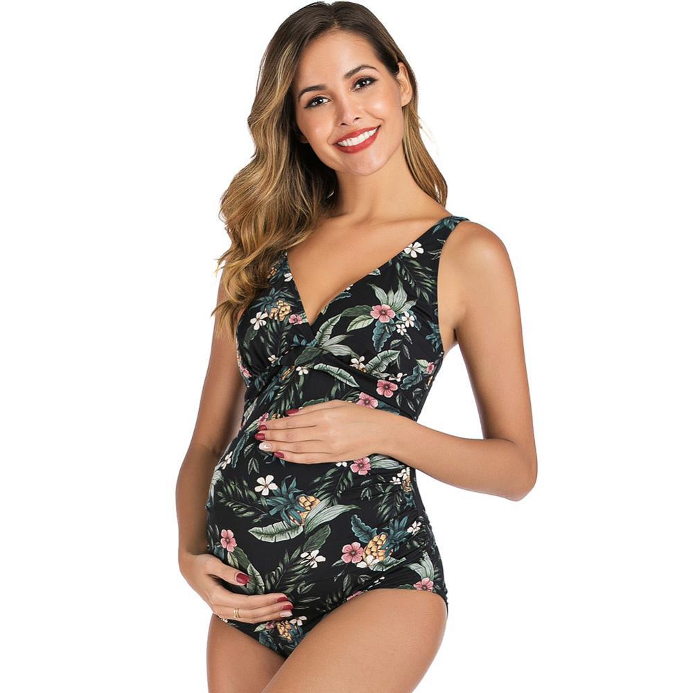 Verão praia trajes de banho feminino maternidade suspender floral impressão uma peça gravidez maiô