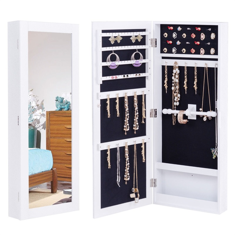 Door Wall Mount Touch Screen LED Light Mirrored Jewelry Cabinet Box for Makeup