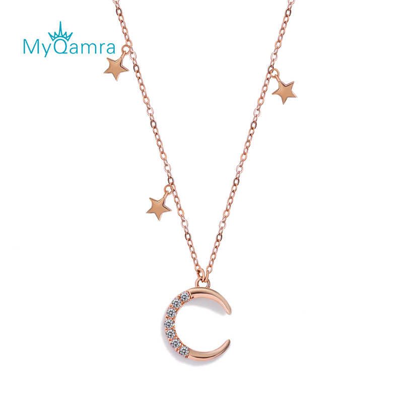 MYQAMRA 18k Pure Gold Star moon  Necklace Pendant Female Clavicle Chain AU750 Valentine's Day Gifts Gift Jewelry