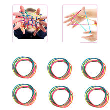 6PCS Rainbow Toy String Set Finger 8pcs Rainbow Rope Skill Game Kid Elastic Game Early Learning Education Teaching Toy Wholesale(China)
